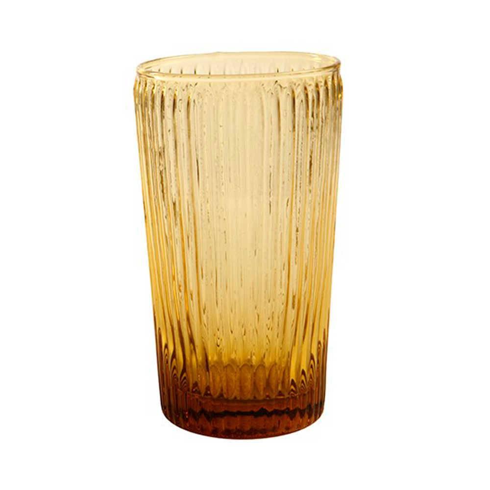 Copo Kiwi Ambar Grande - 450 ml em Vidro Lapidado - 14x8 cm