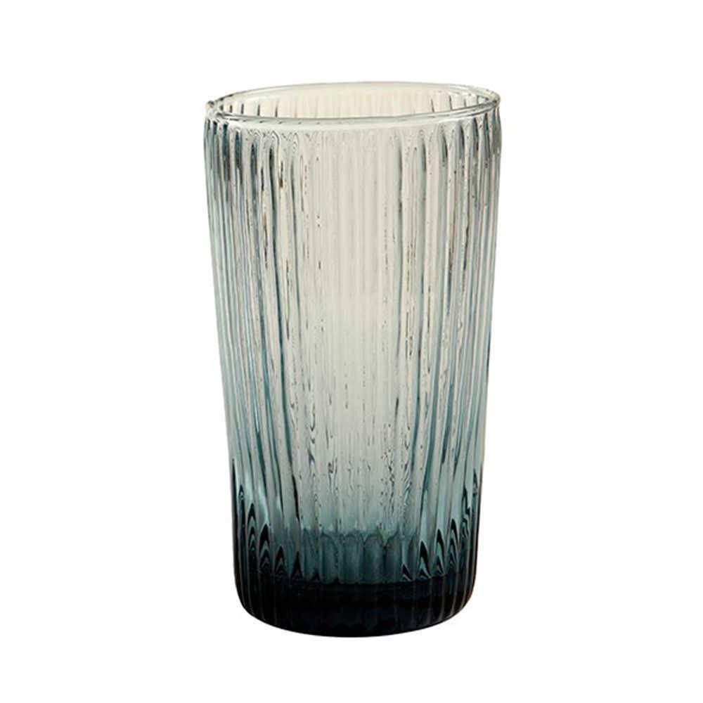 Copo Kiwi Fumê Grande - 450 ml em Vidro Lapidado - 14x8 cm