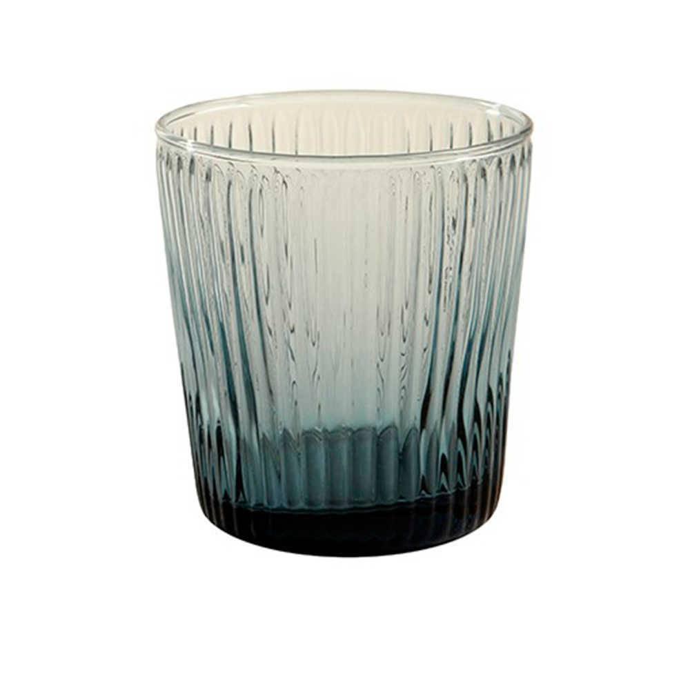 Copo Kiwi Fumê Pequeno - 350 ml em Vidro Lapidado - 10x9 cm