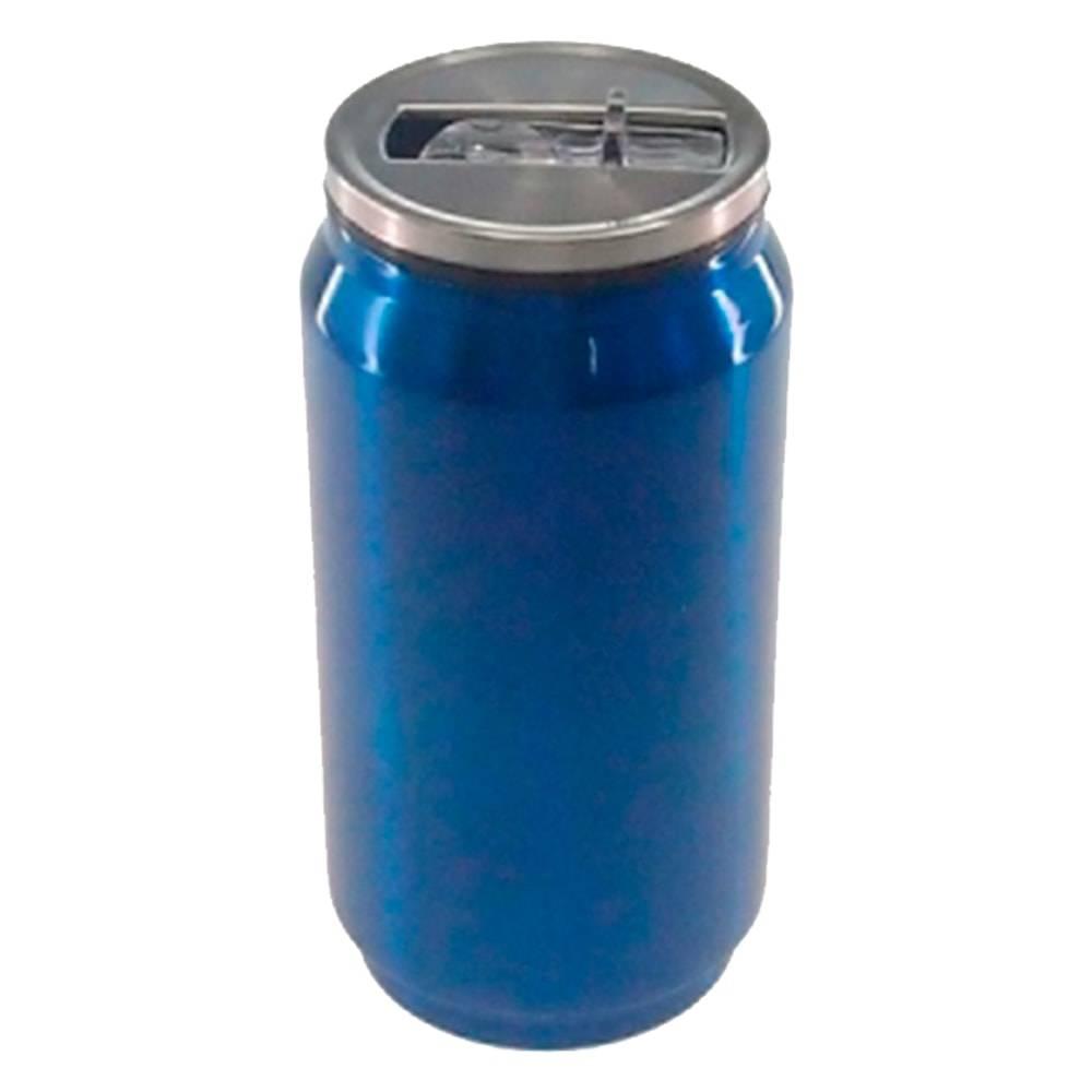 Copo Lata de Refrigerante Azul em Alumínio - 15x7 cm