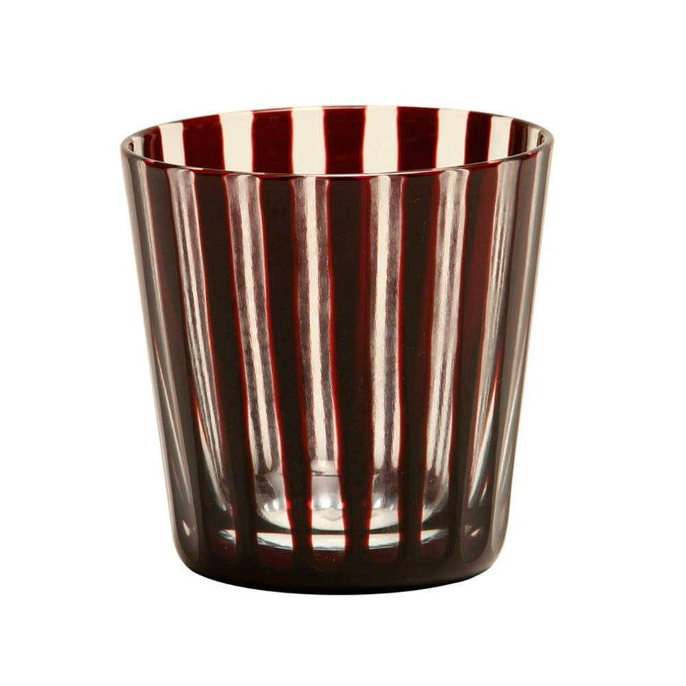 Copo Listras Vermelhas em Vidro Lapidado - 8x8 cm