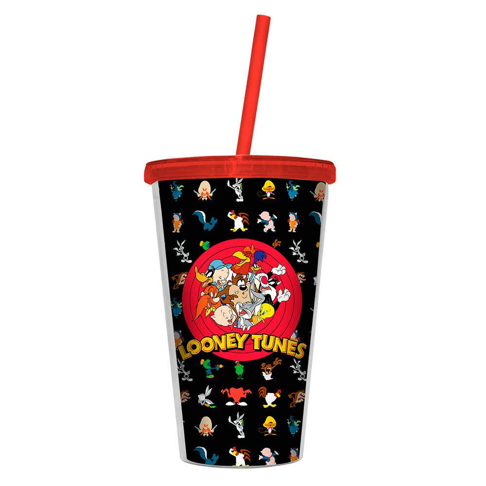 Copo Looney Tunes All Characters - 500 ml - com Tampa e Canudo em Polipropileno - Urban - 24,5x11 cm
