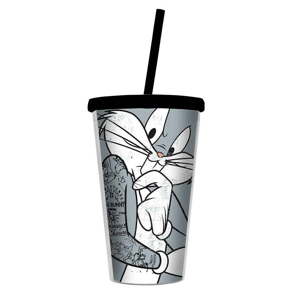 Copo Looney Tunes Bug Bunny Concerned - 500 ml - com Tampa e Canudo em Polipropileno - Urban - 24,5x11 cm