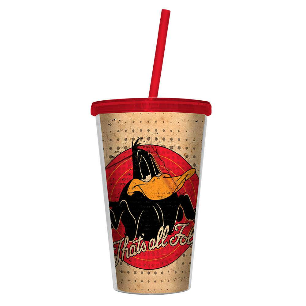Copo Looney Tunes Daffy Duck Thats All Folks - 500 ml - com Tampa e Canudo em Polipropileno - Urban - 24,5x11 cm
