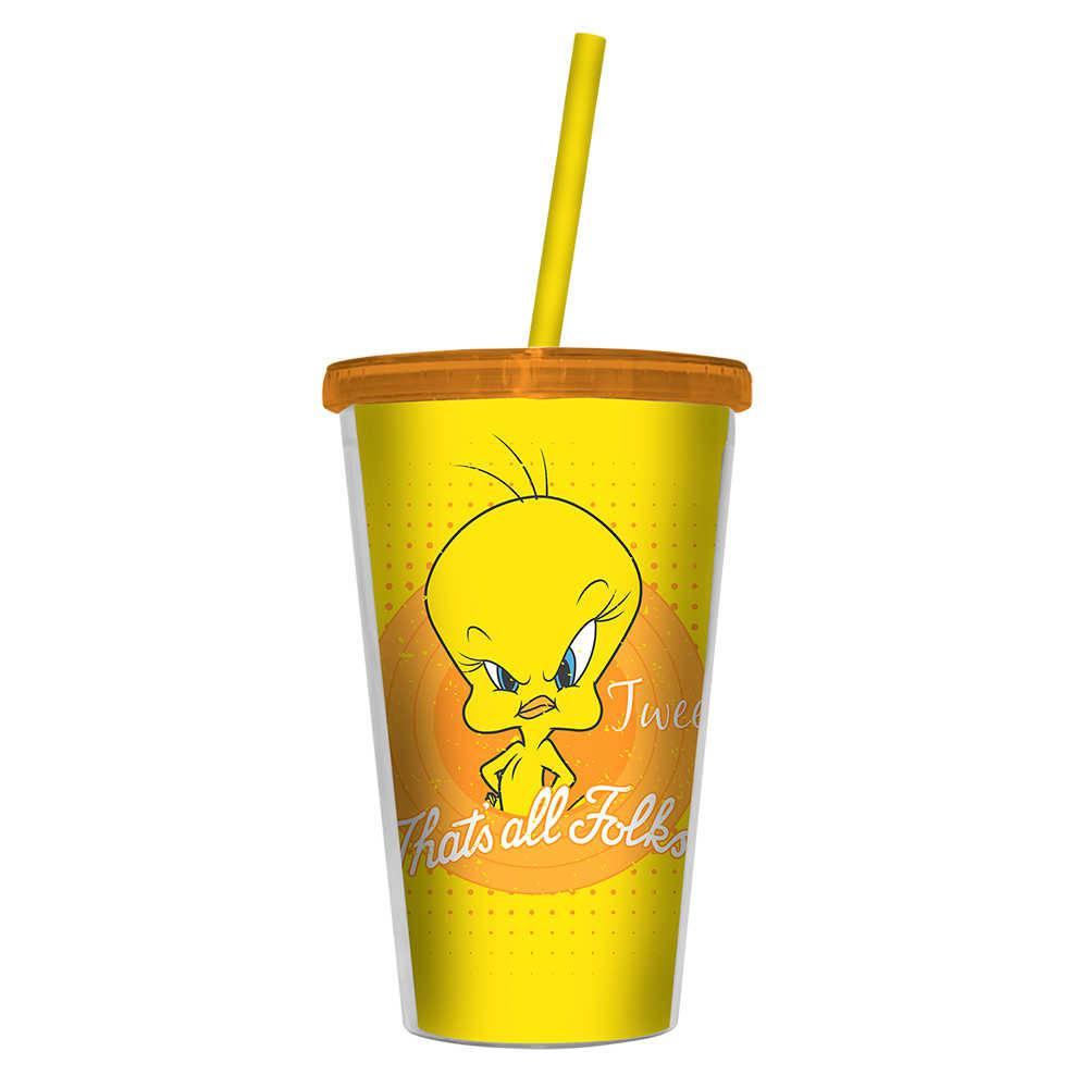 Copo Looney Tunes Mad Tweety Thats All Folks Amarelo - 500 ml - com Tampa e Canudo em Polipropileno - Urban - 24,5x11 cm