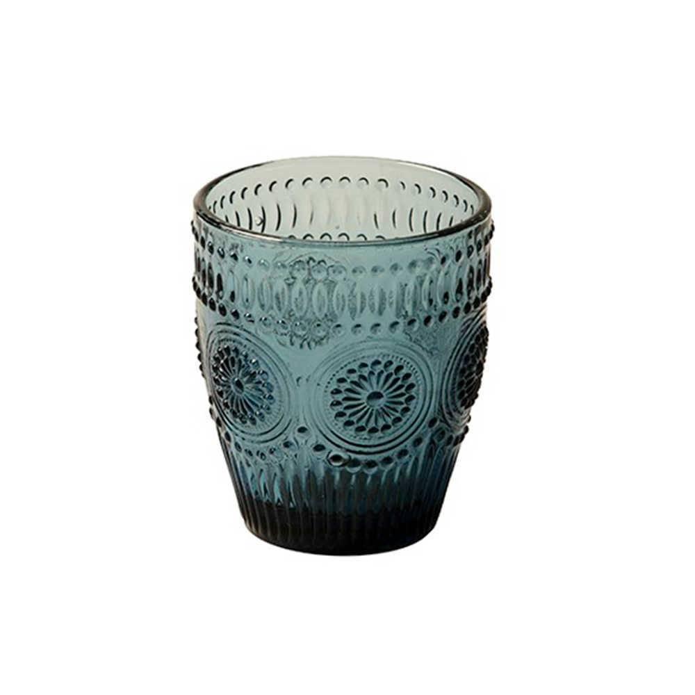 Copo Rome Degradê Azul com Alto Relevo em Vidro Lapidado - 11x10 cm