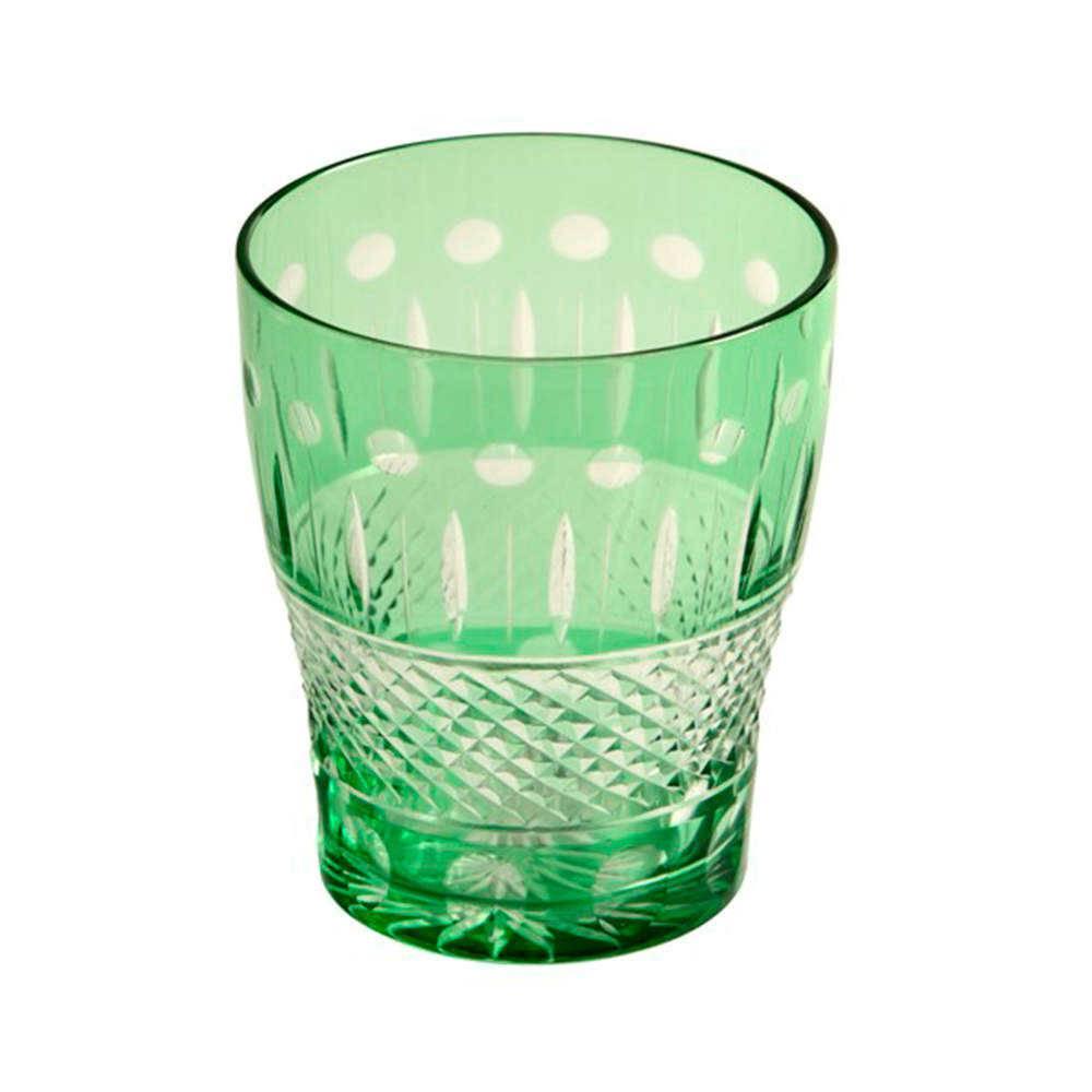 Copo Shon Verde com Alto Relevo em Vidro Lapidado - 16x11 cm