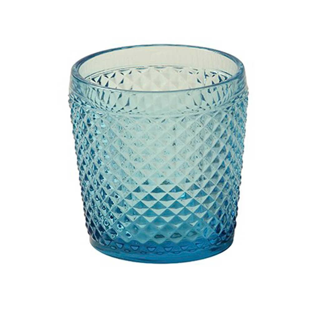 Copo Standi Azul com Alto Relevo em Vidro Lapidado - 11x10 cm