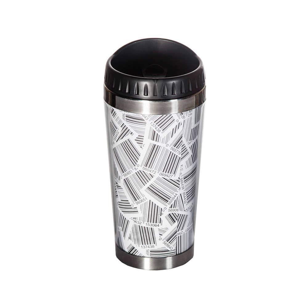 Copo Térmico Barcode Branco e Preto com Tampa - 450 ml - Urban - 18x6,6 cm