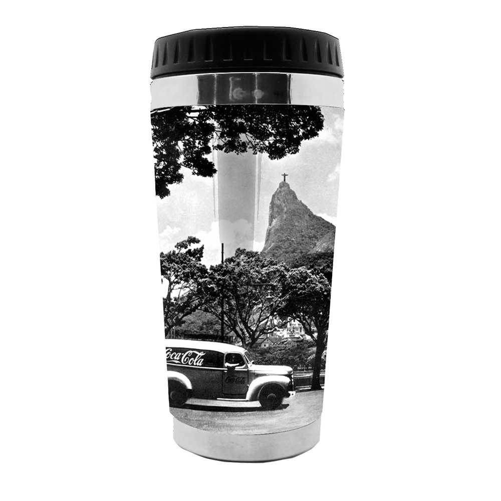 Copo Térmico Coca-Cola Landscape Rio de Janeiro Preto e Branco - 473 ml - em Polipropileno - Urban - 18x8,3 cm