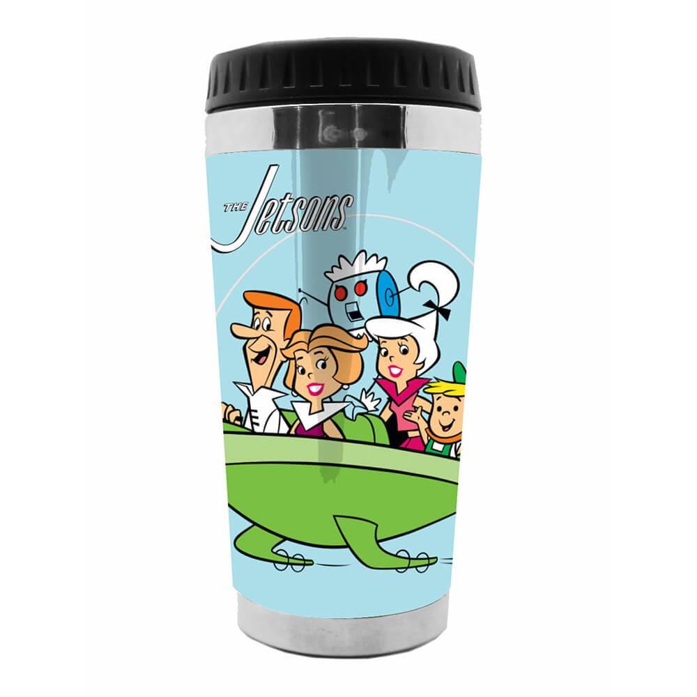 Copo Térmico Hanna Barbera The Jetsons Family In a Spaceship Fundo Azul em Polipropileno - Urban - 18x8,3 cm