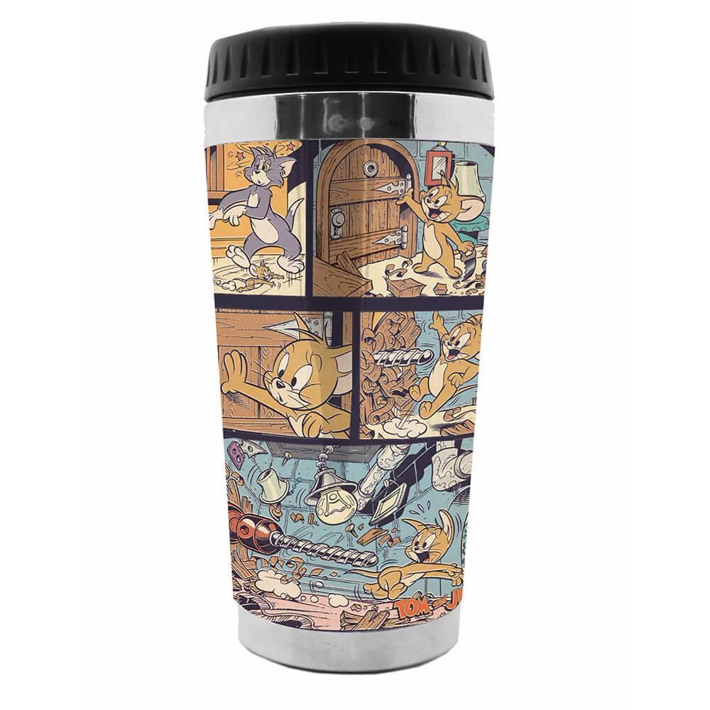 Copo Térmico Hanna Barbera Tom And Jerry Comics Colorido em Polipropileno - Urban - 18x8,3 cm