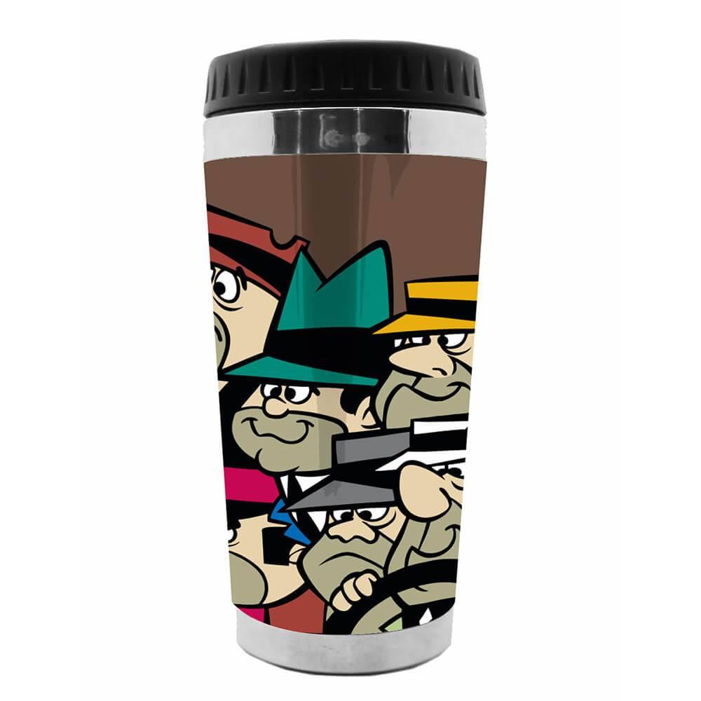 Copo Térmico Hanna Barbera Wacky Race The Gangsters Fundo Marrom em Polipropileno - Urban - 18x8,3 cm