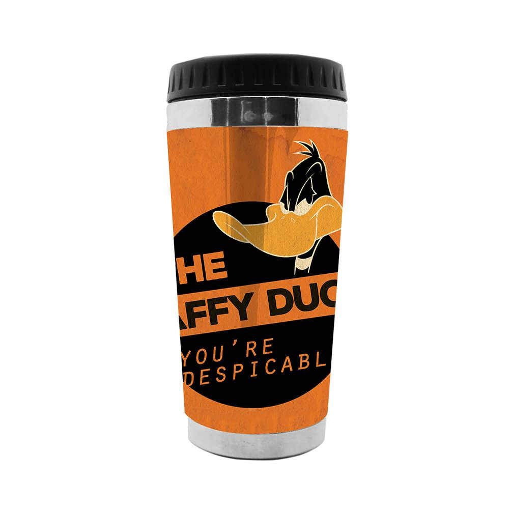 Copo Térmico Looney Tunes Daffy Duck Despicable Laranja - 473 ml - em Polipropileno - Urban - 18x8,3 cm