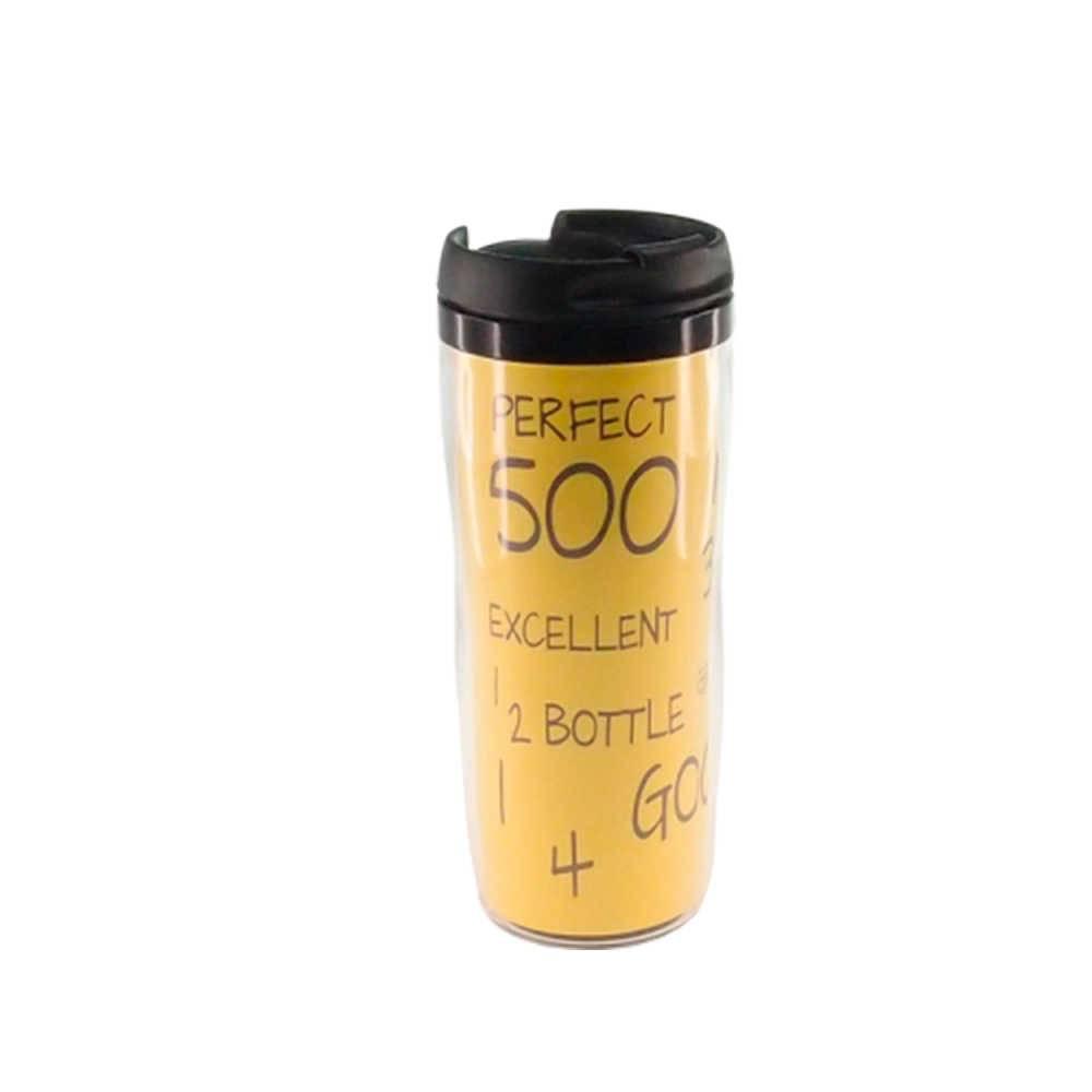 Copo Térmico Perfect Excellent Amarela - 400 ml - com Parede Dupla - 18x7 cm