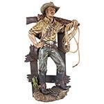 Cowboy na Cerca e Arma no Ombro Oldway - 87x51x28cm