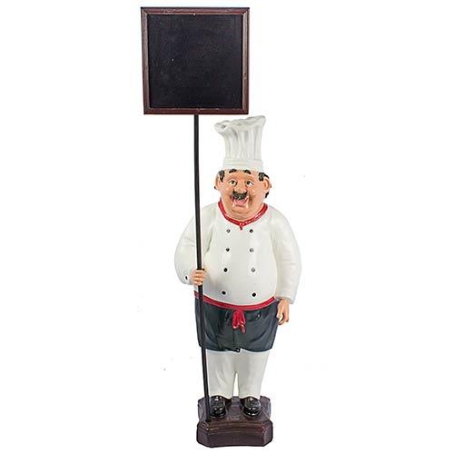 Cozinheiro Segurando Quadro Negro Oldway - 108x41x29cm
