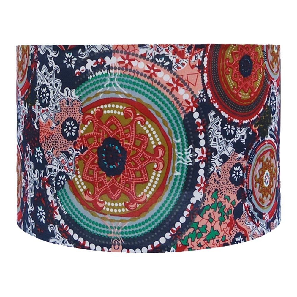 Cúpula de Abajur Boho Chic Colorido em Tecido - 27x27 cm