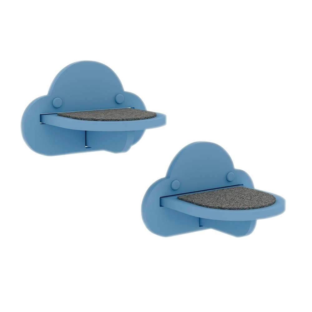 Degraus de Acesso para Gatos SkyWall - 2 Peças - em MDF Azul - 22x16 cm