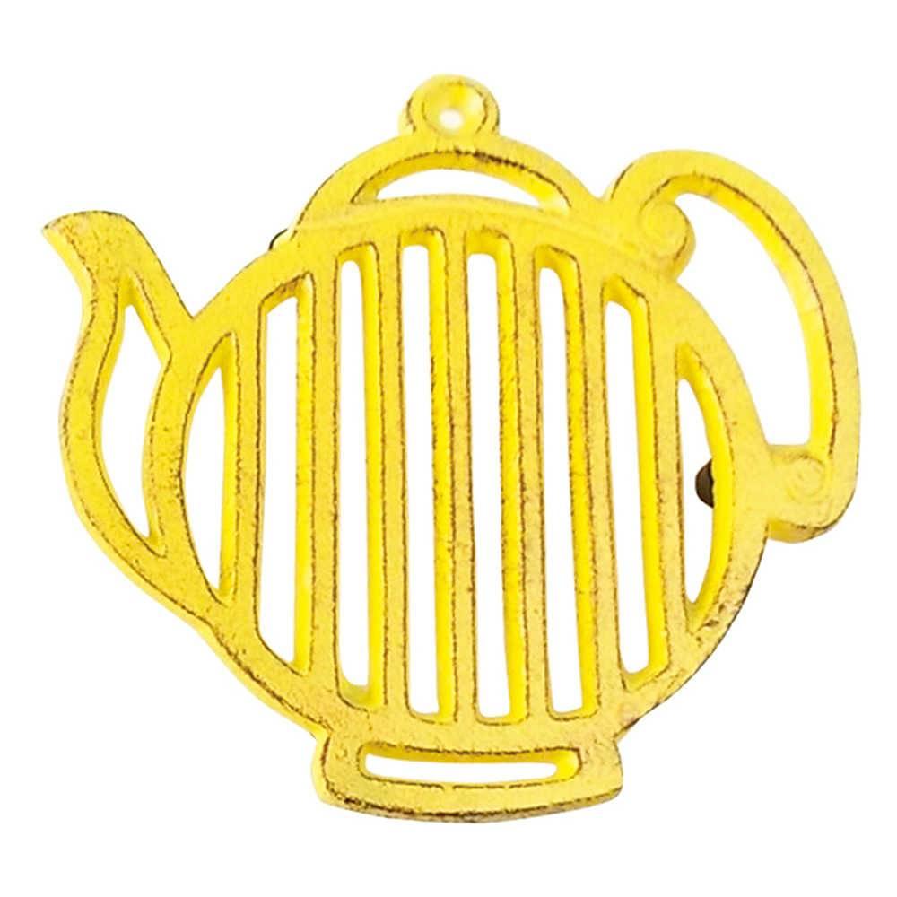 Descanso para Panela Bule Stripes Amarelo em Ferro - Urban - 16.8x16.5 cm