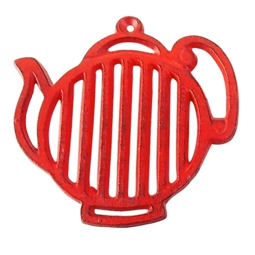 Descanso de Panela Bule Stripes Vermelho em Ferro - Urban - 16.8x16.5 cm