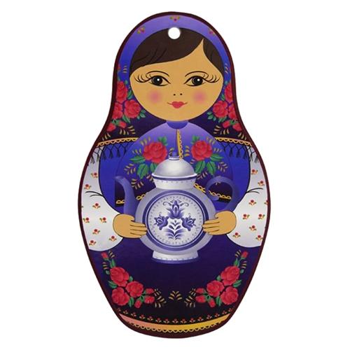 Descanso para Panelas Matrioska Azul em Cerâmica - 21x13 cm