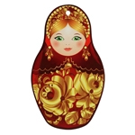 Descanso para Panelas Matrioska Dourada em Cerâmica - 21x13 cm