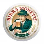Disco de Metal Cerveja Italiana Birra Moretti Verde e Branco em Metal - 40x40 cm