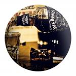 Disco de Metal Copo de Whisky Jack Daniels Preto em Metal - 40x40 cm