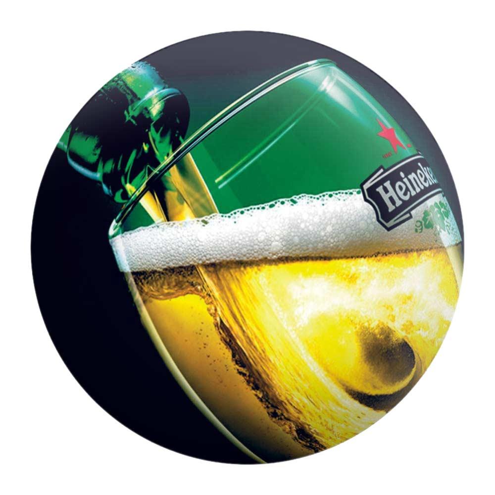 Disco de Metal Enchendo o Copo com Cerveja Heineken em Metal - 40x40 cm