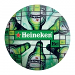 Disco de Metal Garrafas de Cerveja Heineken Verde em Metal - 40x40 cm