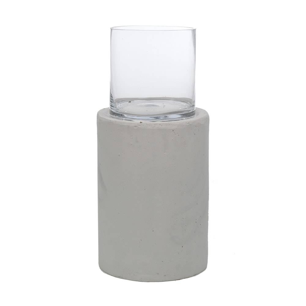 Donzela com Base Transparente e Branco Grande em Vidro - 54x27 cm