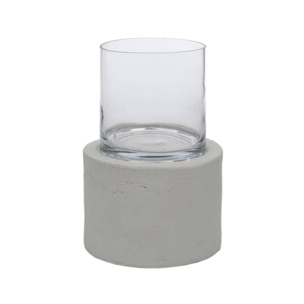 Donzela com Base Transparente e Branco Pequeno em Vidro - 40x27 cm