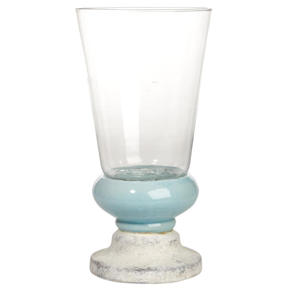 Donzela com Pé Califórnia Azul e Branco em Cerâmica - 34x18 cm