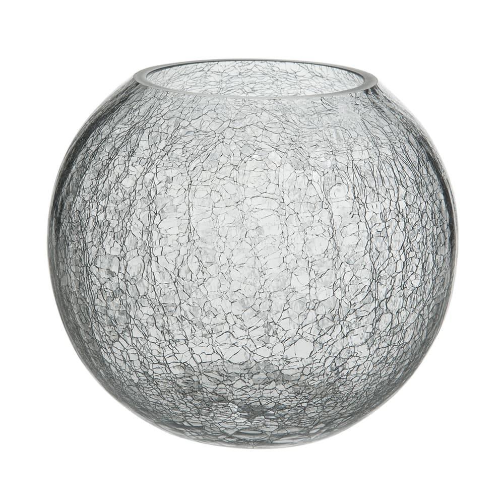 Donzela Redonda Craquelada Transparente em Vidro - 23x21 cm