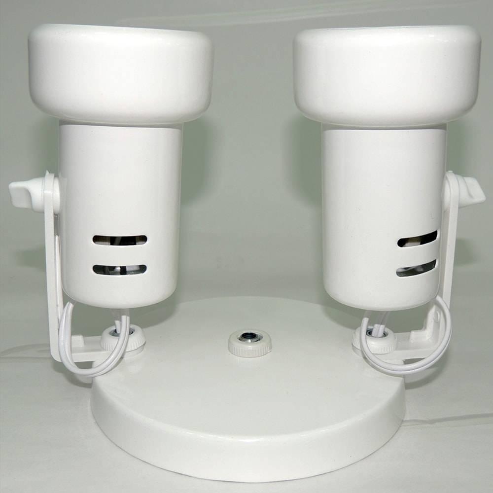 Duplo Spot Baulado Branco Articulado - de Parede ou Teto - em Alumínio - 15x12 cm