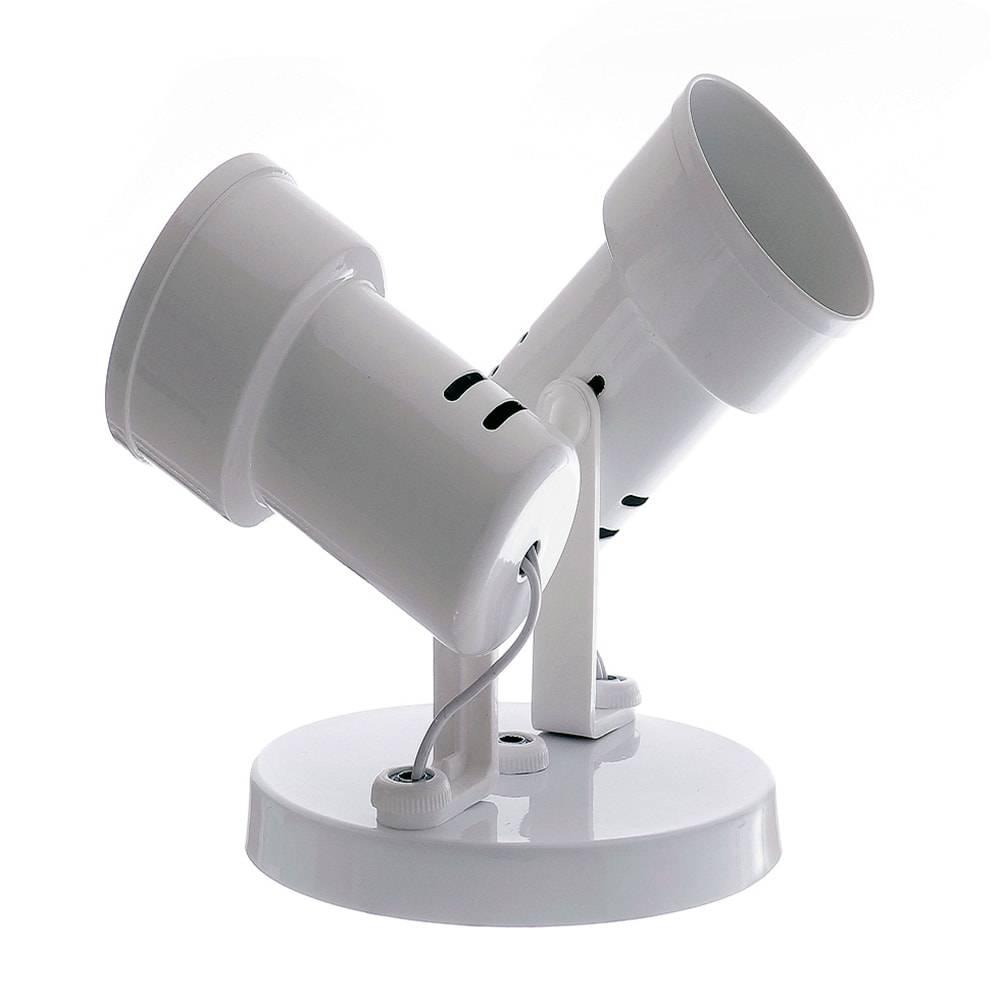 Duplo Spot Bocal Branco Articulado - de Parede ou Teto - em Alumínio - 19x16 cm