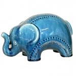 Elefante Cerâmica Azul G