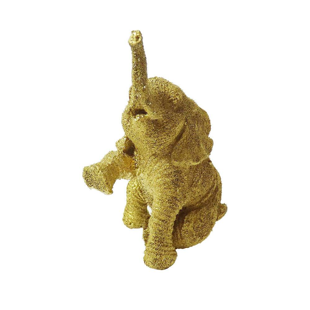 Elefante Decorativo Mini Jade Dourado em Resina - 11x7 cm