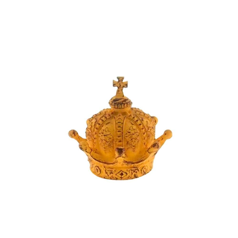 Enfeite Coroa Império Amarelo Provençal em Resina - 13x13cm