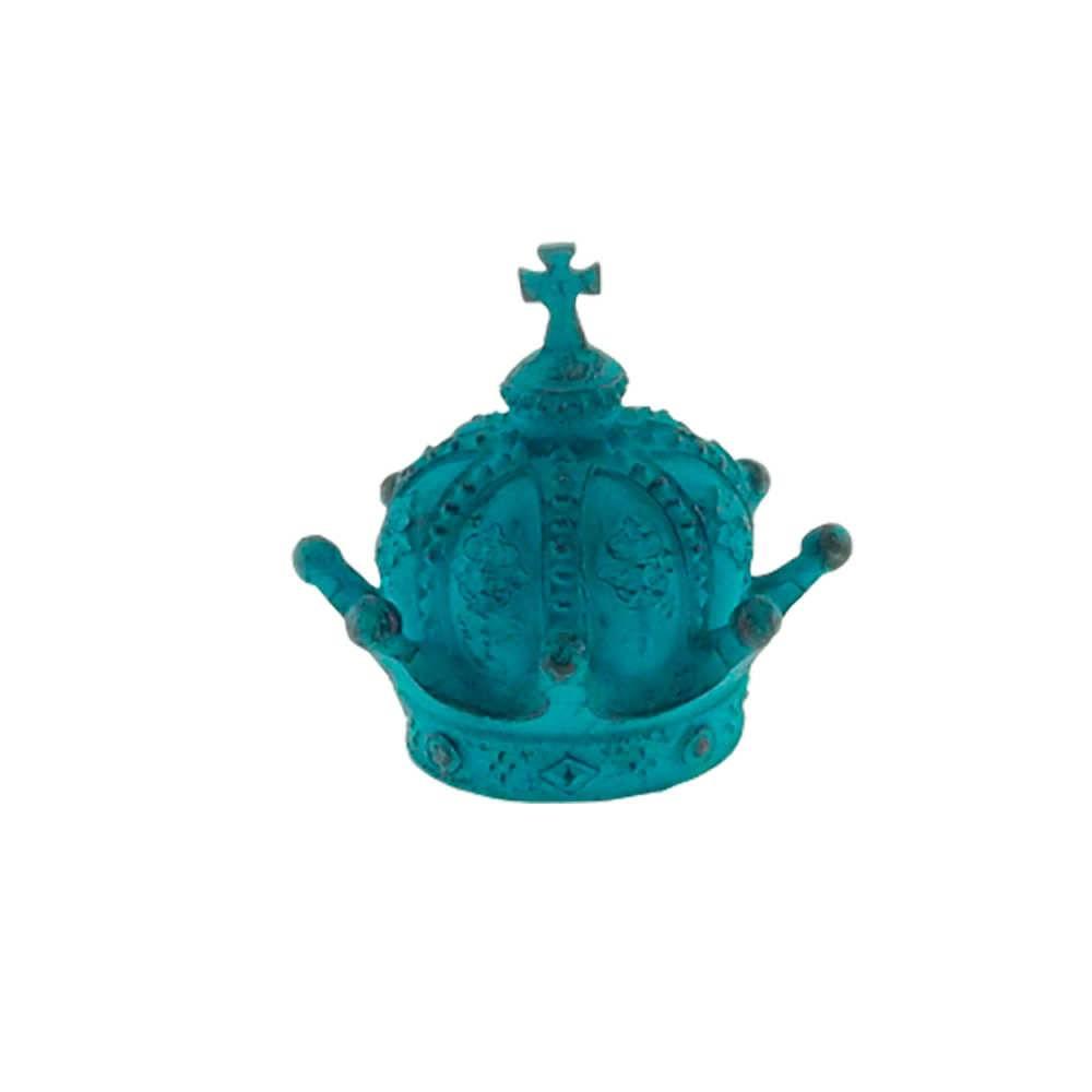 Enfeite Coroa Império Azul Provençal em Resina - 13x13 cm