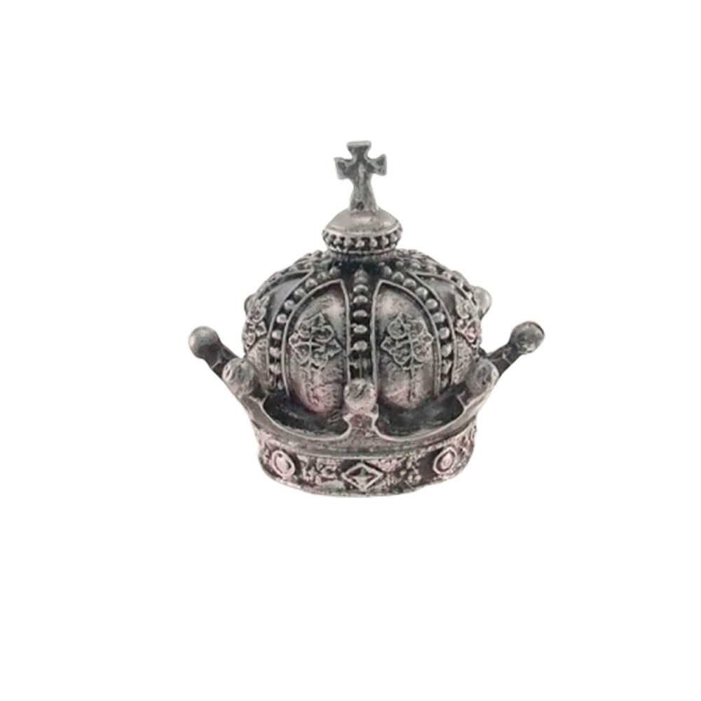 Enfeite Coroa Império Prata Provençal em Resina - 13x13cm