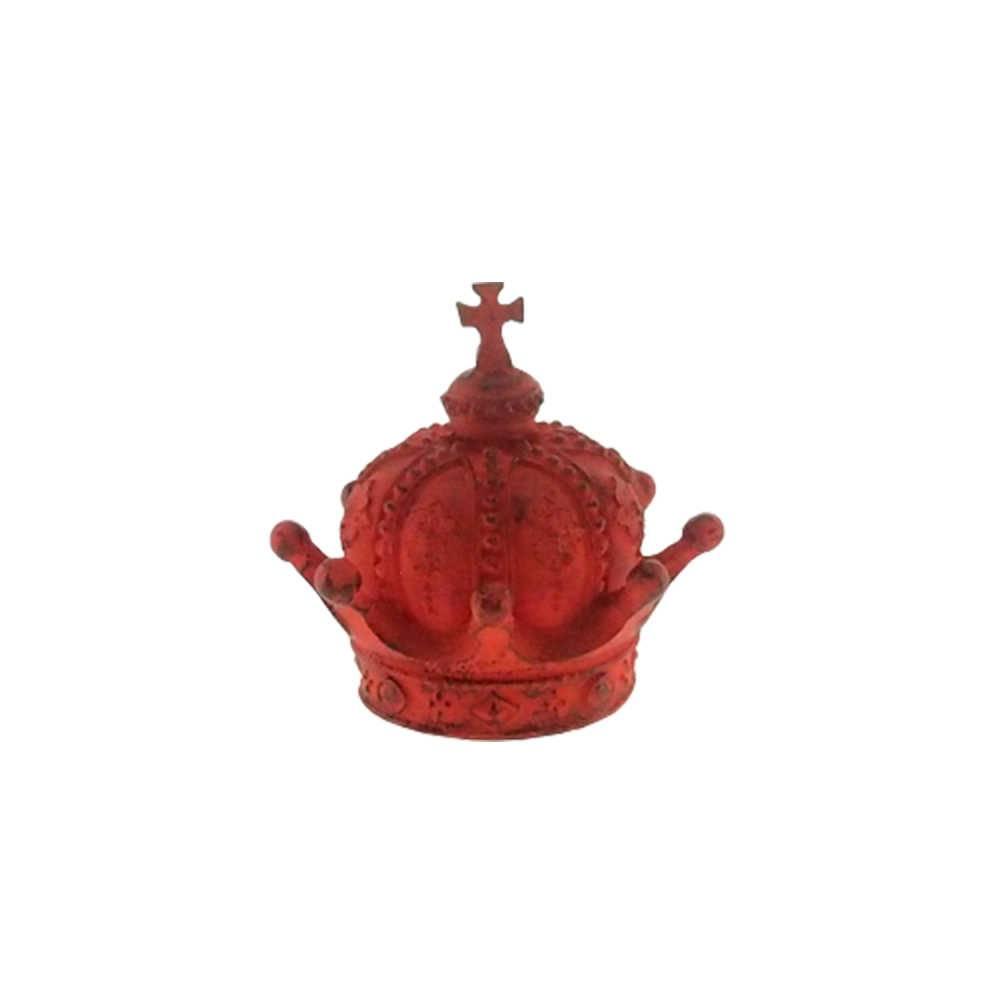 Enfeite Coroa Império Vermelha Provençal em Resina - 13x13 cm
