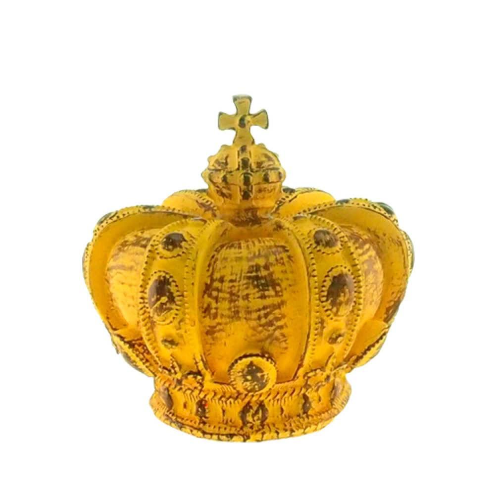 Enfeite Coroa Real Amarelo Provençal em Resina - 18x17cm