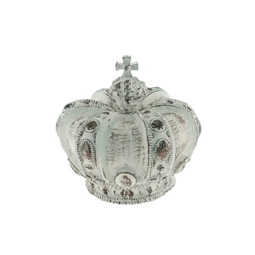Enfeite Coroa Real Branco Provençal em Resina - 18x17cm