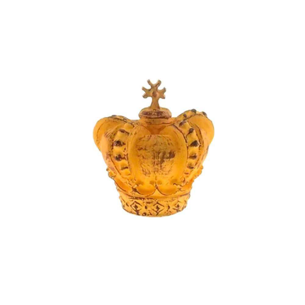Enfeite Coroa Supreme Amarelo Provençal em Resina - 13x13 cm