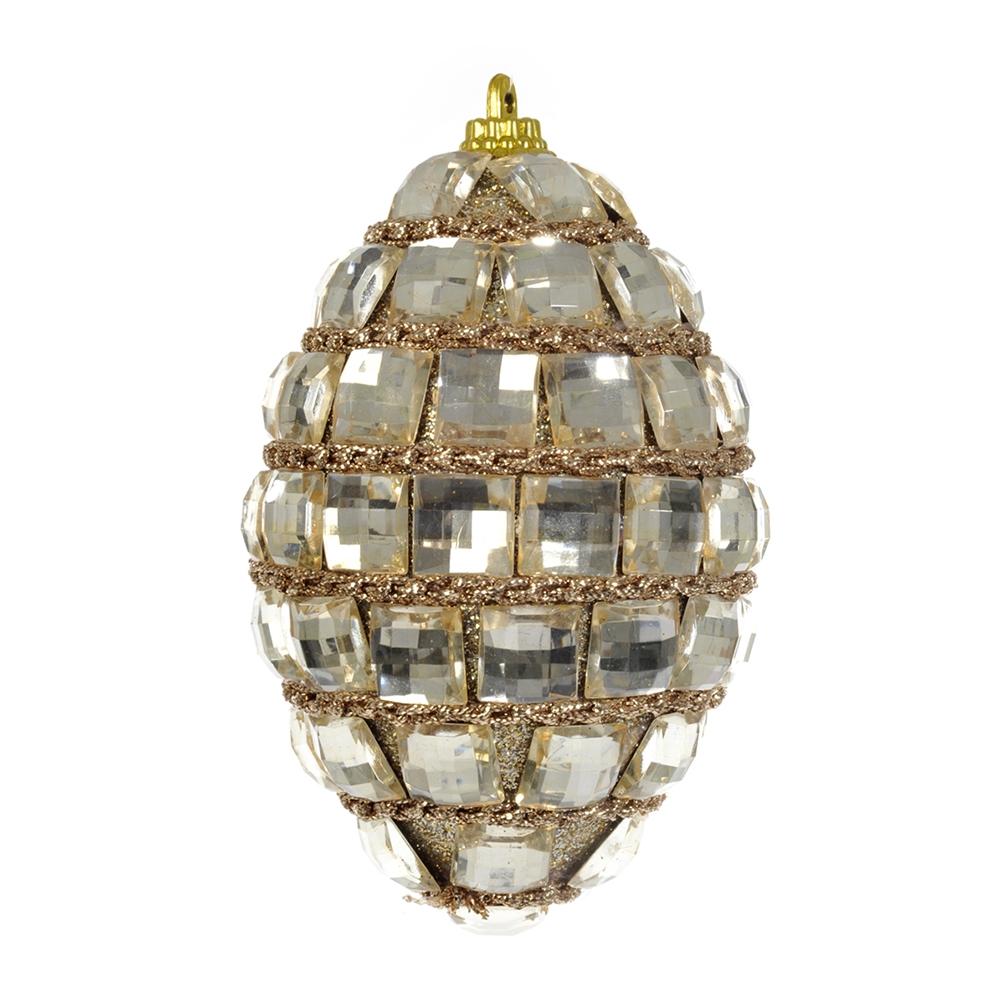 Enfeite de Natal Bola Oval Dourada com Pedrarias - 12x7 cm