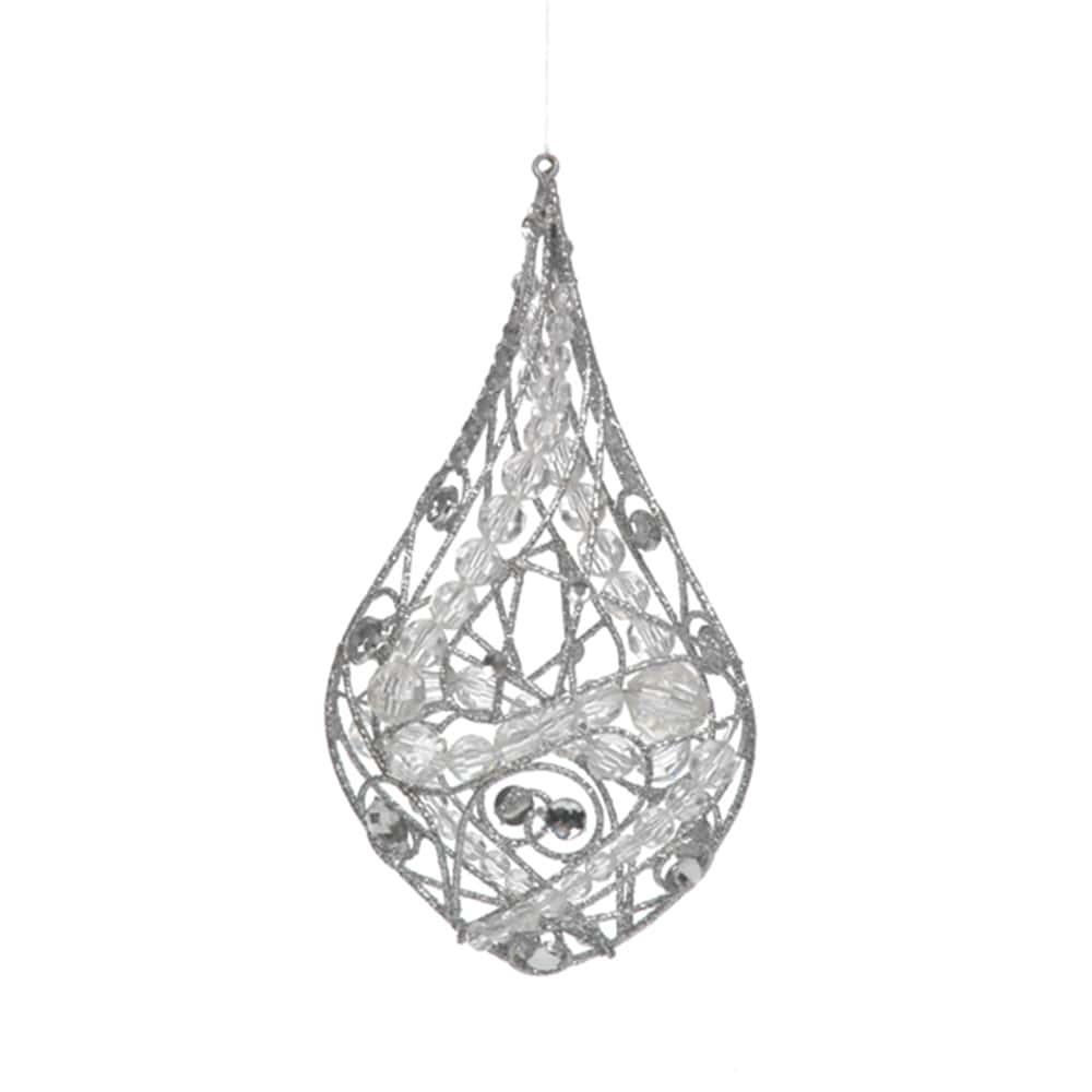 Enfeite de Natal Prata com Strass e Glitter em Metal - 17x9 cm