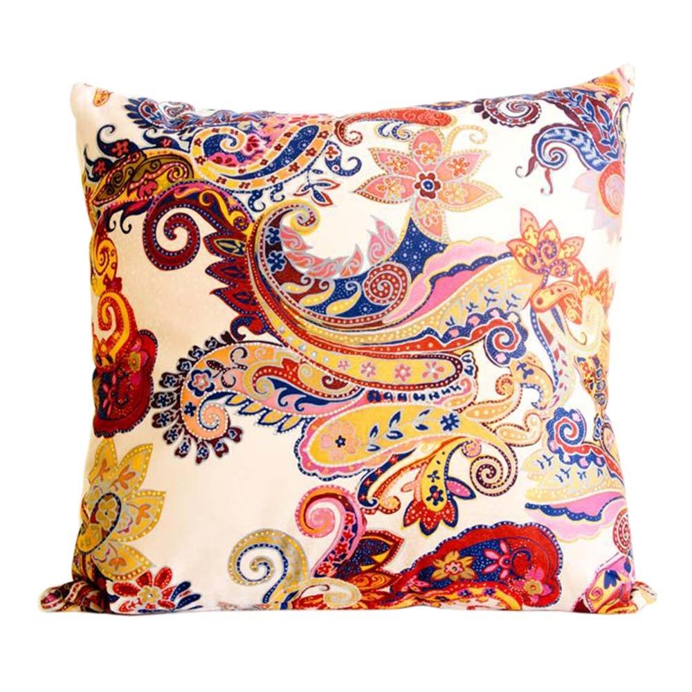 Almofada Arabescos Colorida Cores Quentes em Tecido - 45x45 cm
