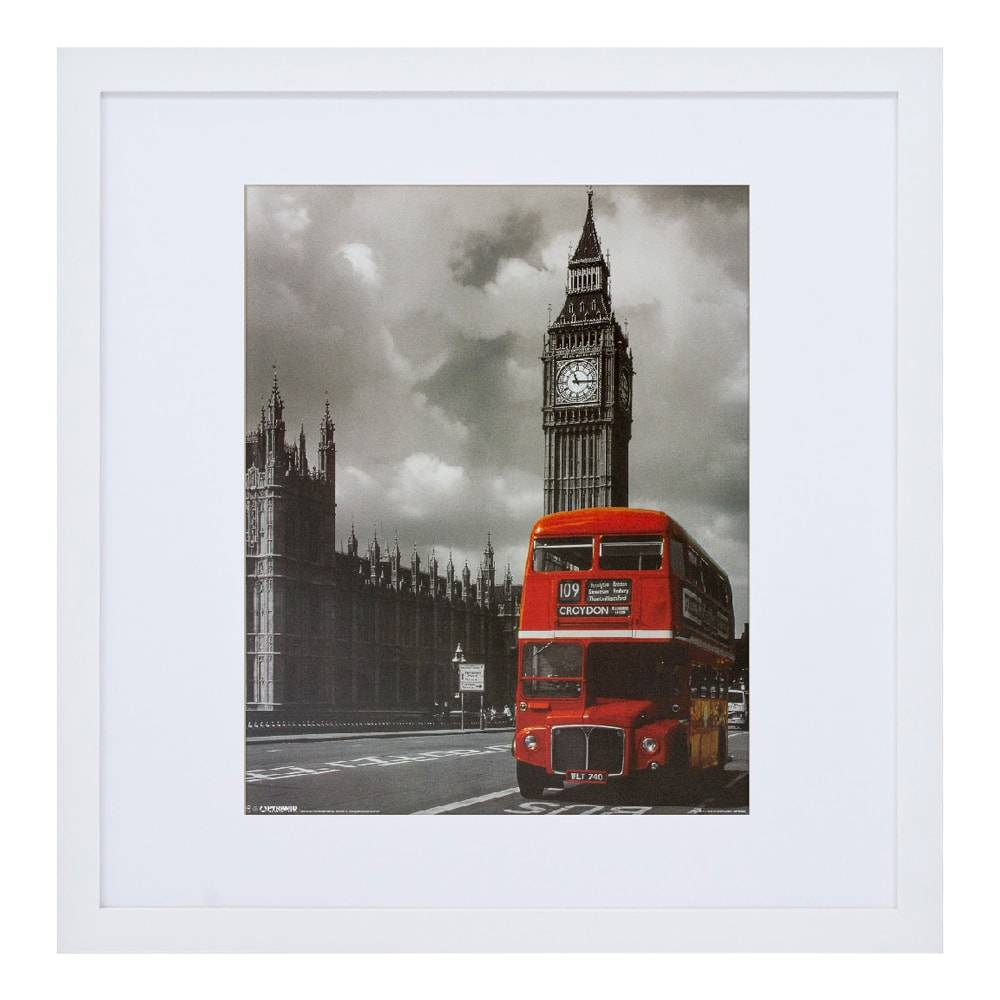Quadro Decorativo Big Ben And Red Bus Moldura Branca em Madeira - 69x67 cm